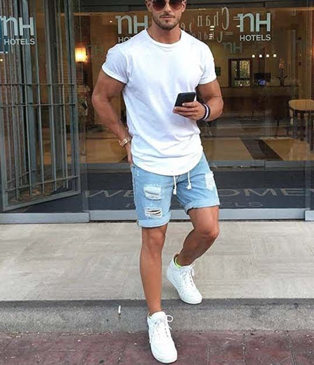 T-shirts and shorts paired with white sneakers are the best summer outfit.  It is the most basic yet classy looking pieces that you can put together. 576c63b64f